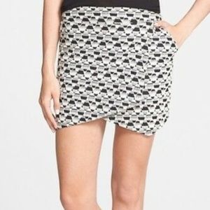 Sanctuary B/W Geo Faux Wrap Mini Skirt